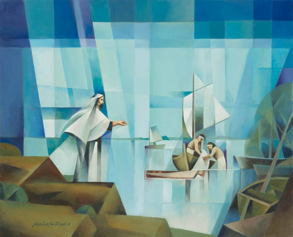 LDS art painting by Jorge Cocco depicting Jesus beckoning to His apostles from the sea shore.