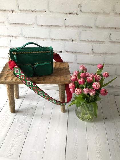 Красно-зеленый ремень для сумки из жаккардовой тесьмы