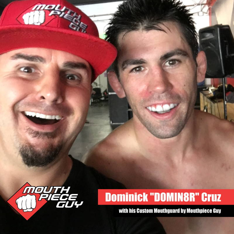 UFC Fighter Dominick Cruz wearing his Custom Mouthguard by Mouthpiece Guy