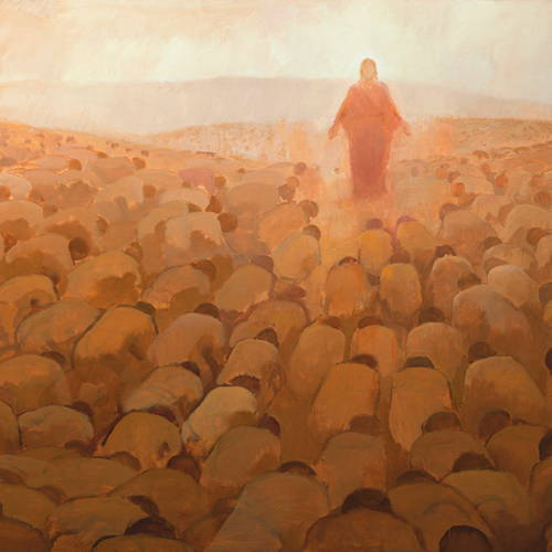 Painting of hundreds of people on their knees before Jesus Christ.