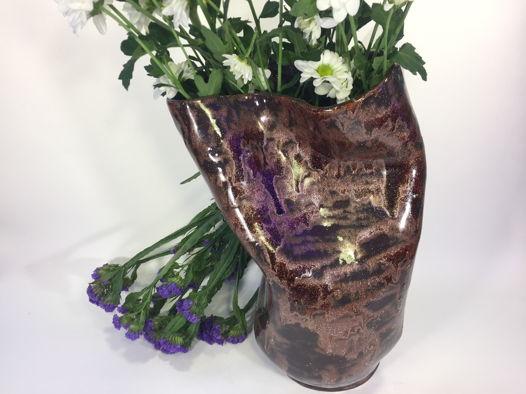 """Керамическая ваза ручной работы """"Произвол металла"""", высота 27 см."""