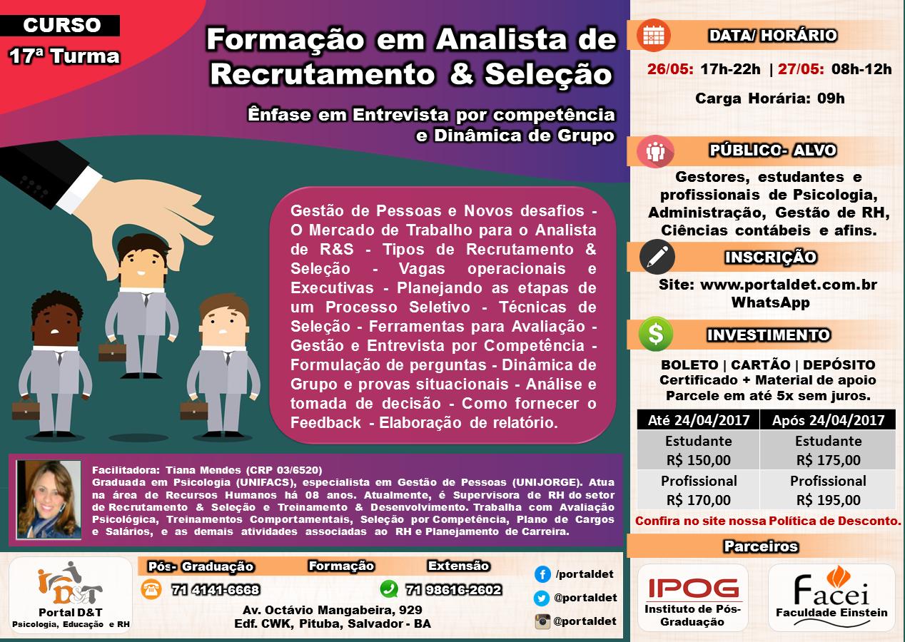 CURSO: Formação em Analista de  Recrutamento e Seleção (Ênfase em Entrevista por competência e Dinâmica de Grupo)