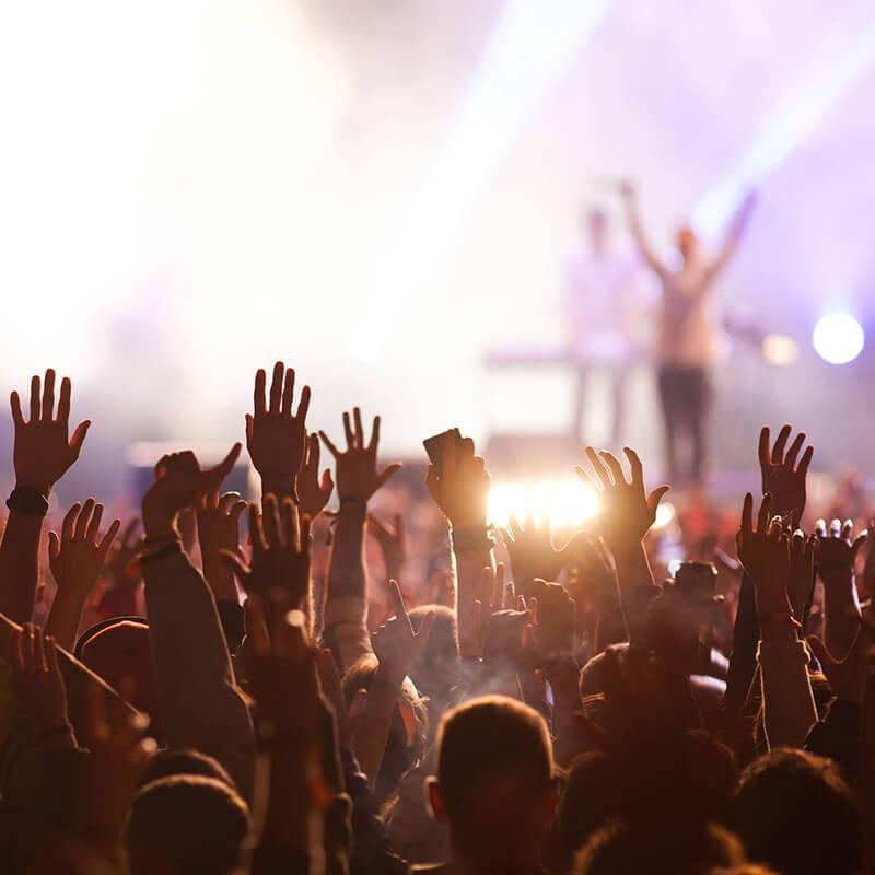 crowd raising their arms at a concert