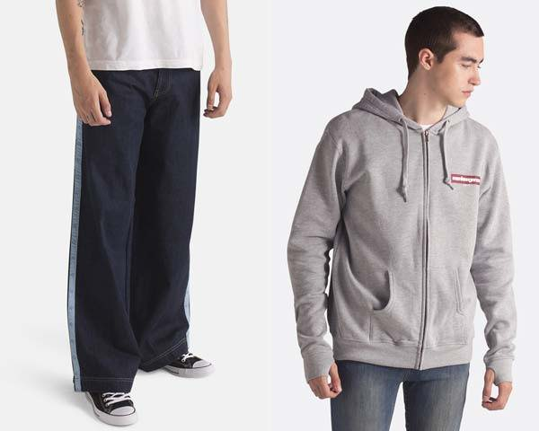 Man wearing wide leg skater fit organic cotton indigo jeans and man wearing zip thru hoodie in grey organic cotton