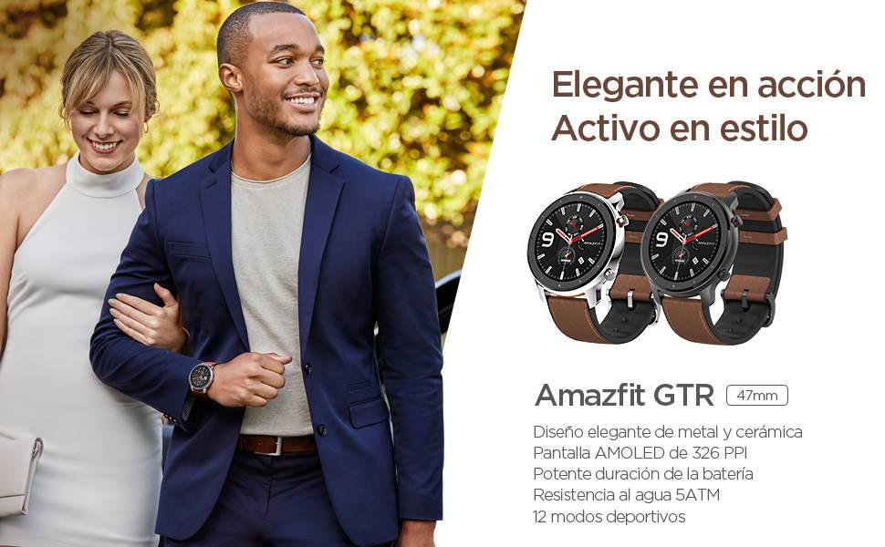 Amazfit GTR 47 mm - Elegante en Acción, Movimiento con Estilo | Elegante diseño de cerámica y metal | Pantalla AMOLED 326 ppi  Batería de larga duración | Sumergible a 50 metros | 12 modos de deportes