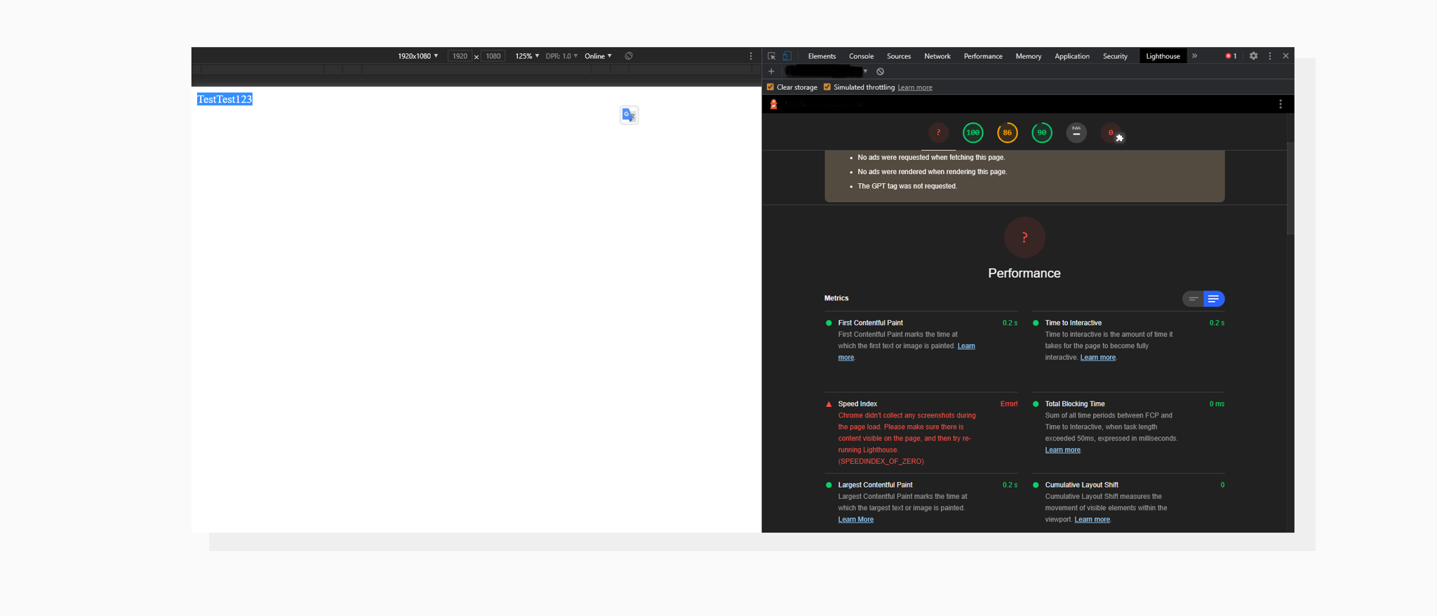 Screenshot of Google Lighthouse with errors because of white page