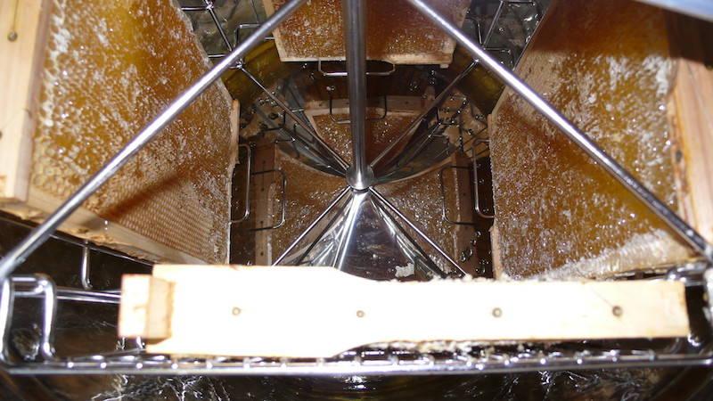Blick von oben in die Honigschleuder