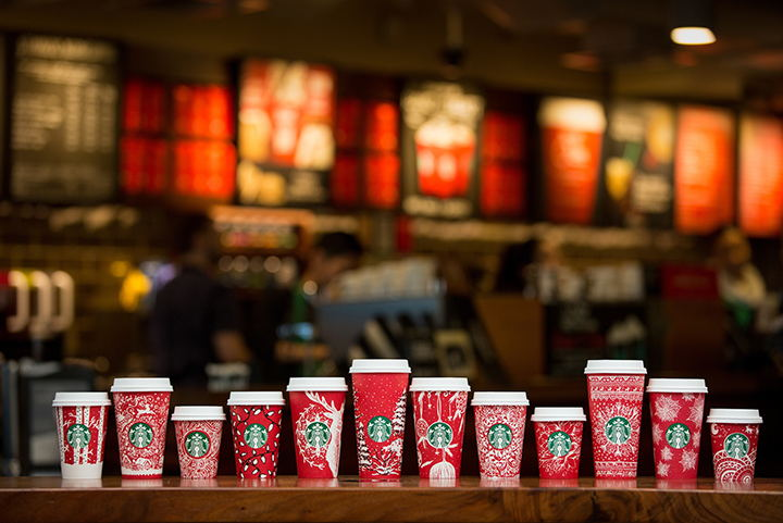 Starbucks red holiday cups photographed on November 9, 2016.  (Joshua Trujillo, Starbucks)