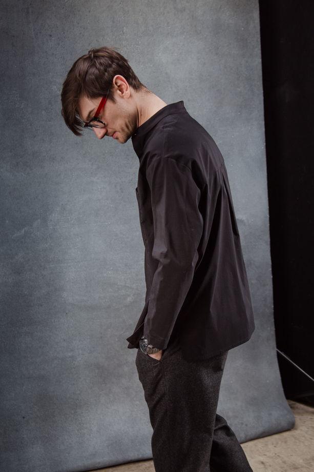 Рубашка черная из итальянского хлопка