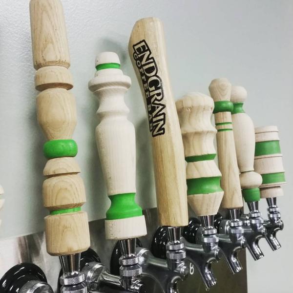 Endgrain logo on a beer tap