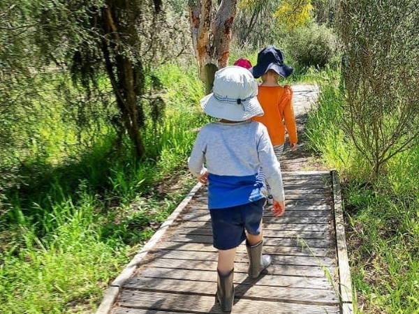 Elite Family Day Care children on an excursion walking through bushes