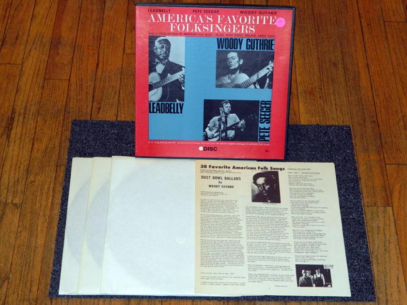 Lead Belly Pete Seeger Woody Guthrie - America's Favorite Folksingers Disc Label EX/NM 3-LP Set