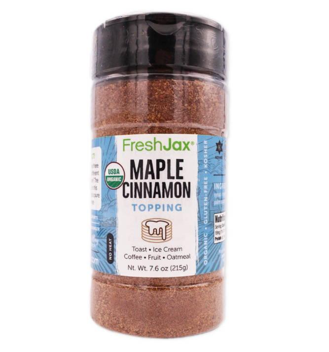 FreshJax Organic Spices Maple Cinnamon Topping large bottle