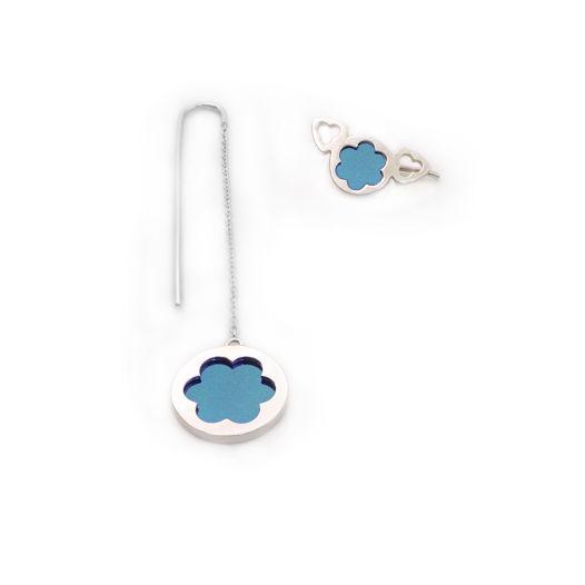 Асимметричные серьги со вставкой из титана (цвет: голубой)
