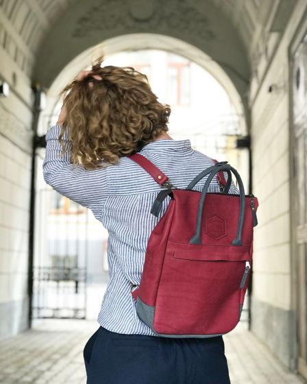 Кожаный рюкзак-сумка Urban Pack Marsala/Gray