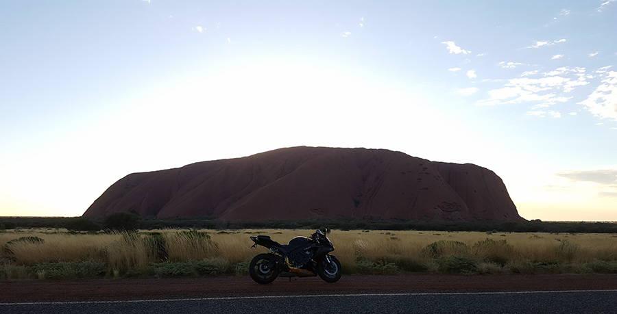 Sheba Rides Australia - GSXR600 in front of Uluru