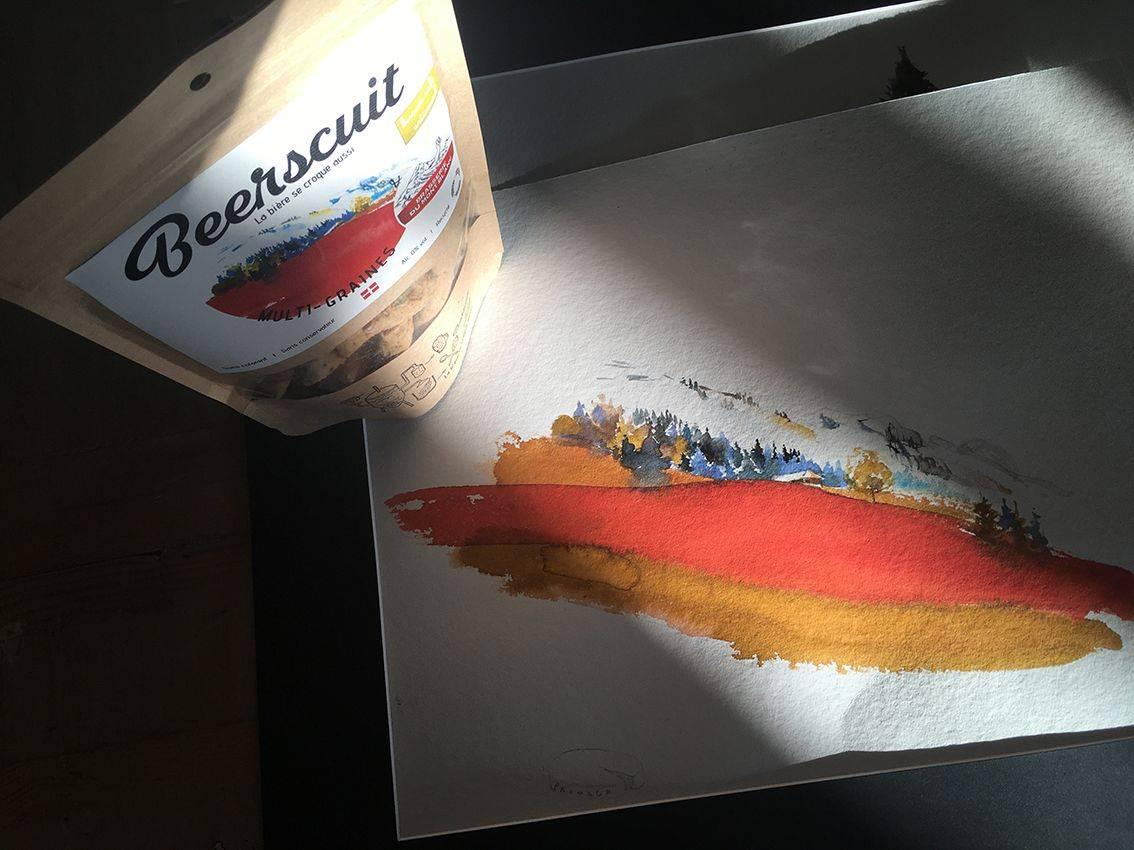 aquarelle rouge et sachet biscuit apéro recyclé