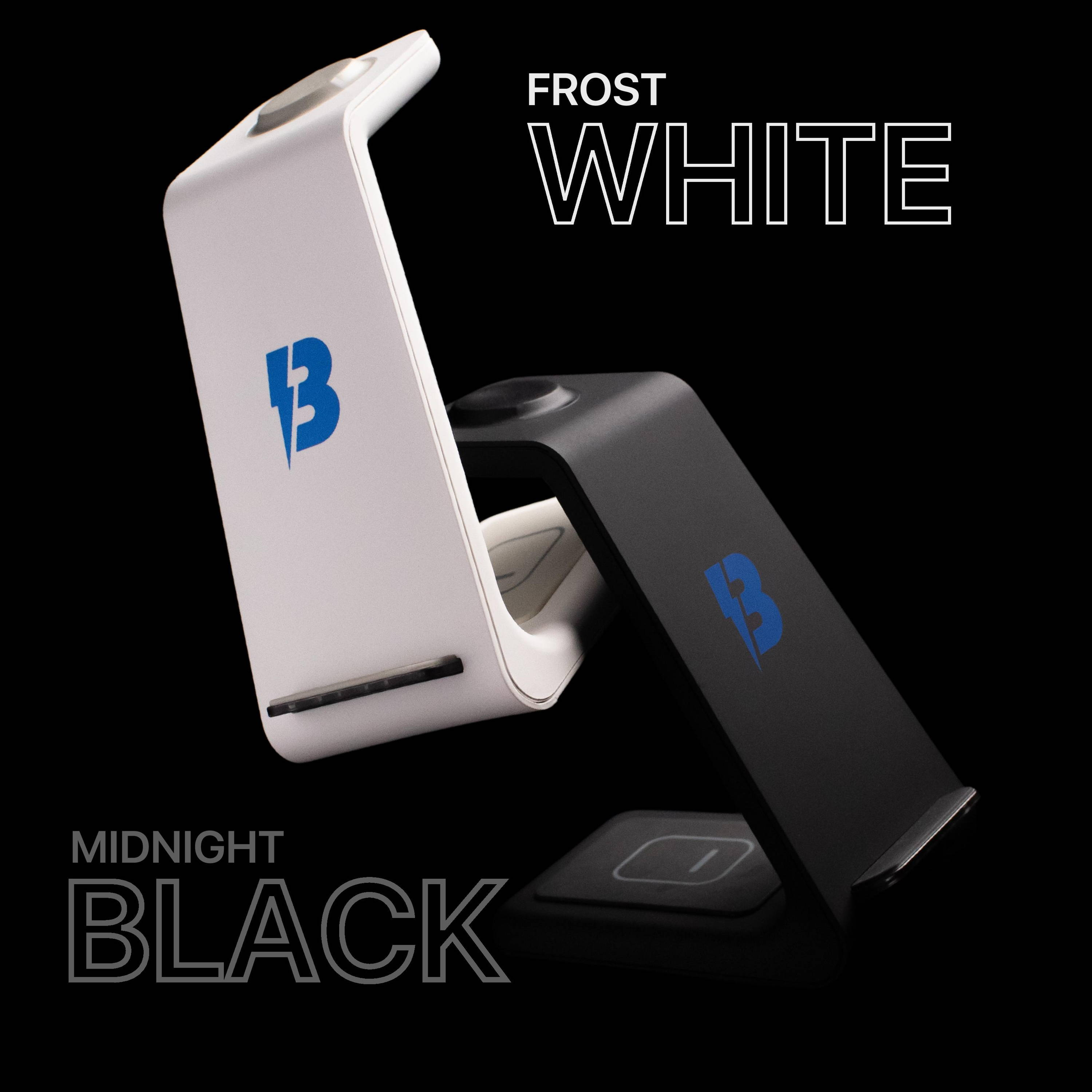 3 in 1 apple charging station midnight black and frost white