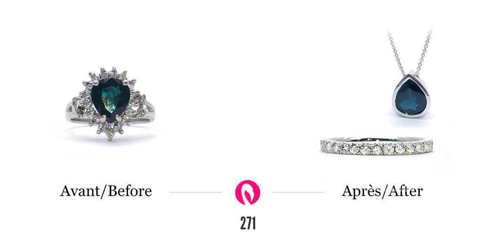 Transformation d'une bague avec plusieurs diamants et un saphir vieux design en un pendentif avec saphir et une bague éternité en or blanc