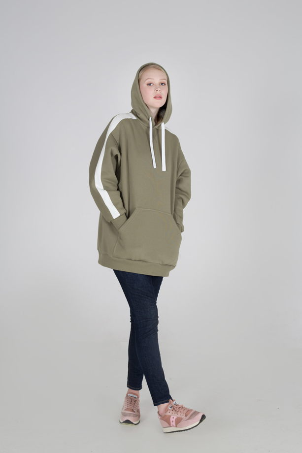 Толстовка хлопковая Hoody Oversize With Stripe Olive SS19