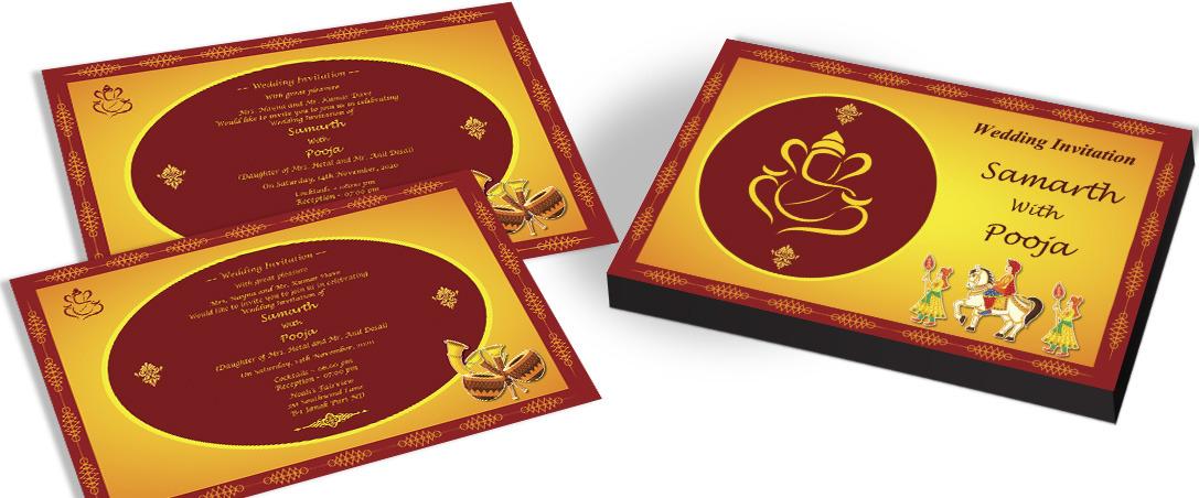 Ganesha Wedding Invitation card for Hindu