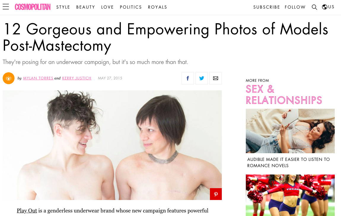 Cosmopolitan - 12 Gorgeous and empowering photos of models post-mastectomy