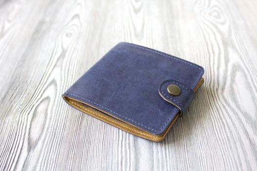 """Синий мужской кошелек, портмоне из натуральной кожи """"Океан"""""""