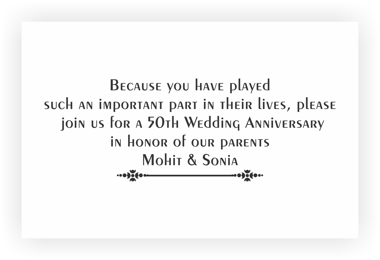 Wedding Anniversary Invitation Message: 50th Marriage Anniversary Invitation & Return Gifts