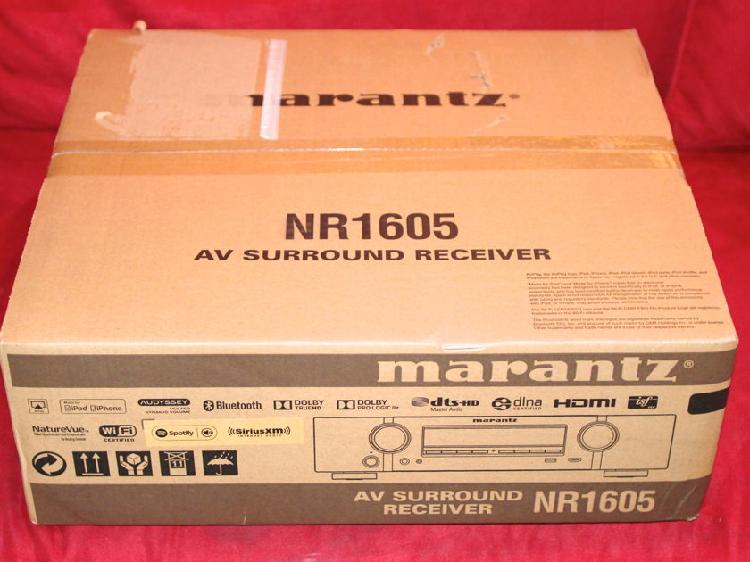 Marantz NR-1605  Slim Line 4K Ultra HD A/V Receiver with Wi-Fi and Bluetooth