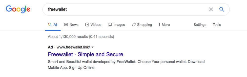 freewallet link phishing website