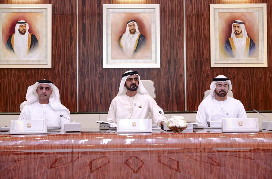 Dubai, United Arab Emirates - HH Sheikh Mohammed bin Rashid, centre, at the Cabinet meeting on Sunday. Wam