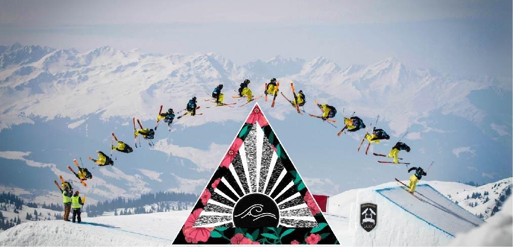 C'est une photo d'un skieur freestyle, dans un snowpark en train d'envoyer un double cork 1080 sur un kicker. La photo est prise en plusieurs fois afin de voir toute la technique du tricks qu'il vient de rentrer.