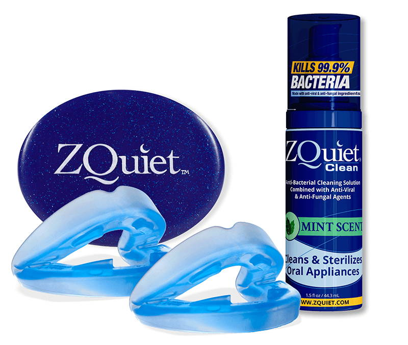 ZQuiet Anti-snoring mouthpiece with  oral appliance cleaner