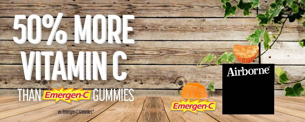 50% More Vitamin C Than Emergen-C Gummies vs. Emergen-C Gummies