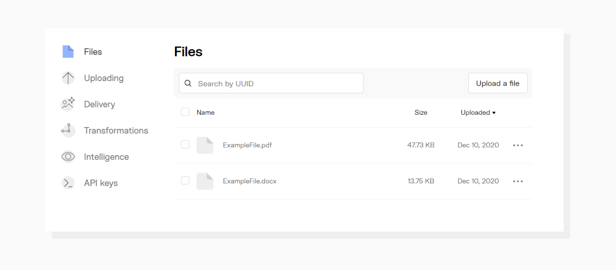 View of files showing original and converted file