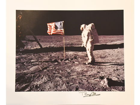 SIGNED PHOTO OF BUZZ ALDRIN ON THE LUNAR SURFACE IN 1969