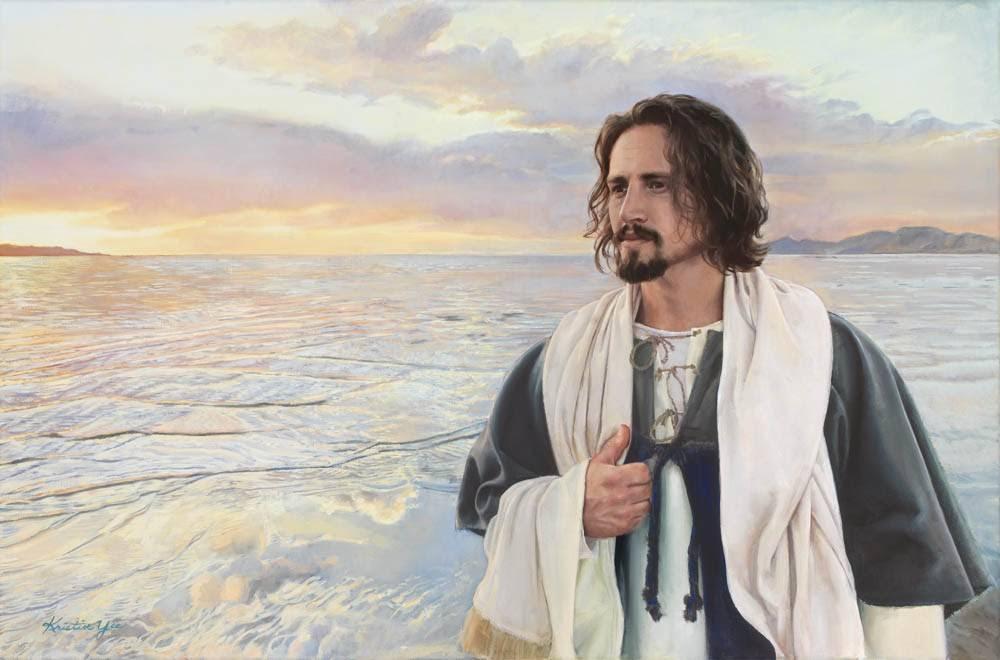 LDS art painting of Jesus Christ walking along the seashore as the sun sets.
