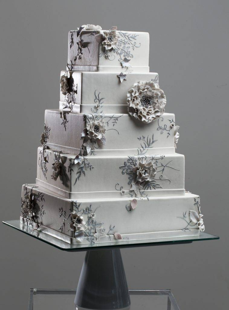 Square, five tiered wedding cake with silver details made by the team at House of Clarendon in Lancaster, PA