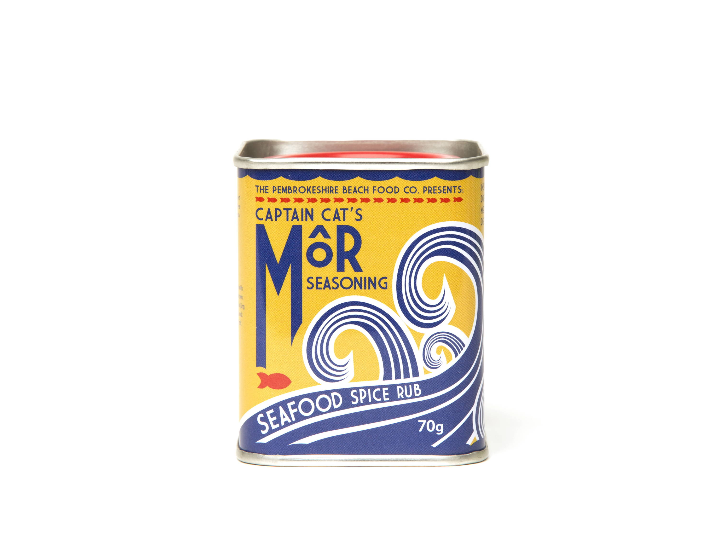 Front view of a lever lid tin for Pembrokeshire food co.
