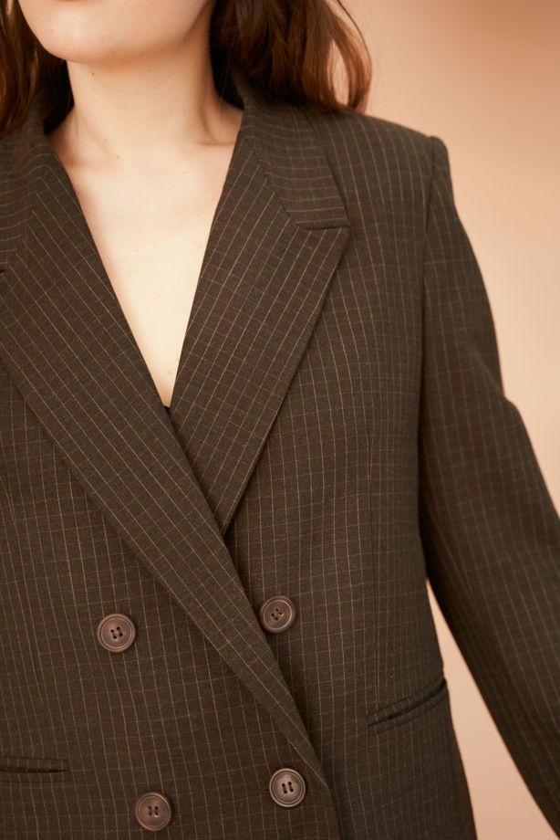 Двубортный пиджак в клетку из 100% шерсти в цвете хаки