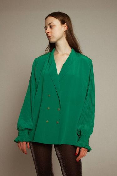 Винтажная зеленая блуза с плиссе-рукавами
