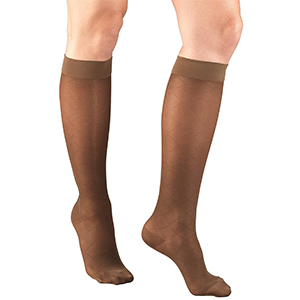 Ladies' Knee High Diamond Pattern Sheer Stockings in Espresso