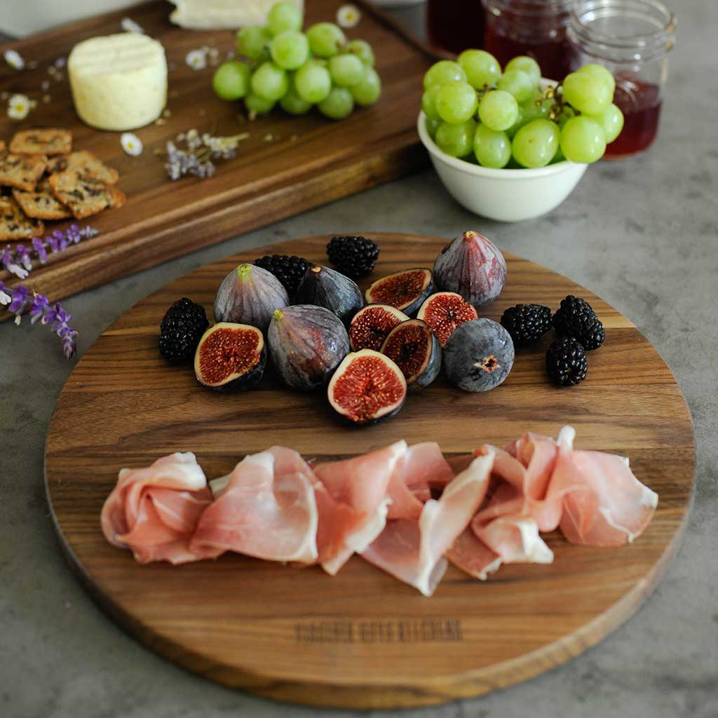The perfect dark chocolate brown backdrop for cheese and charcuterie presentations for guests