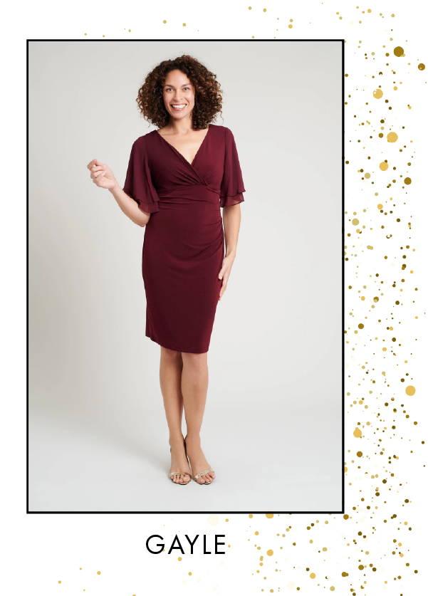 Shop Gayle Bordeaux Dress >