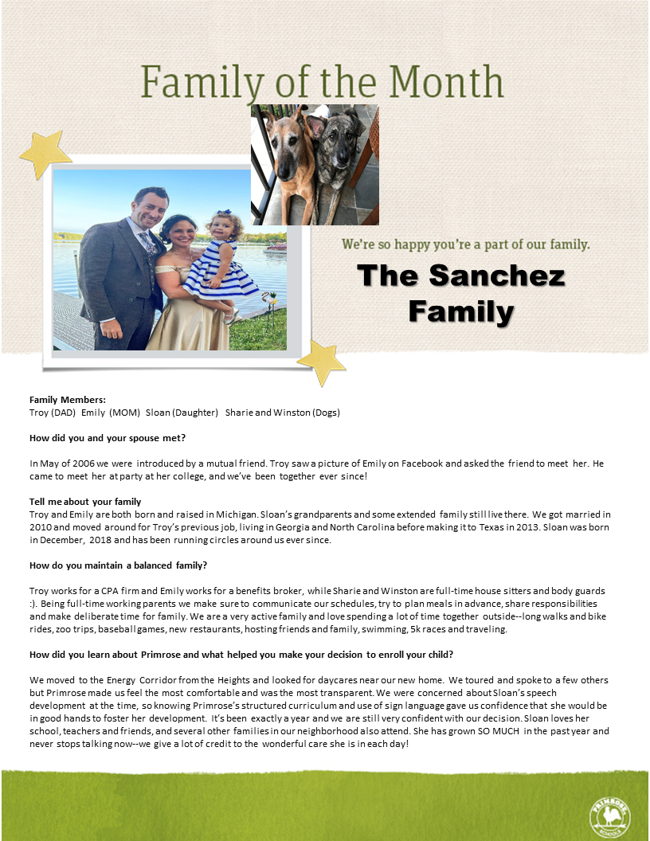 Family description about them and a picture of smiling woman, man, and two year old along with two dogs