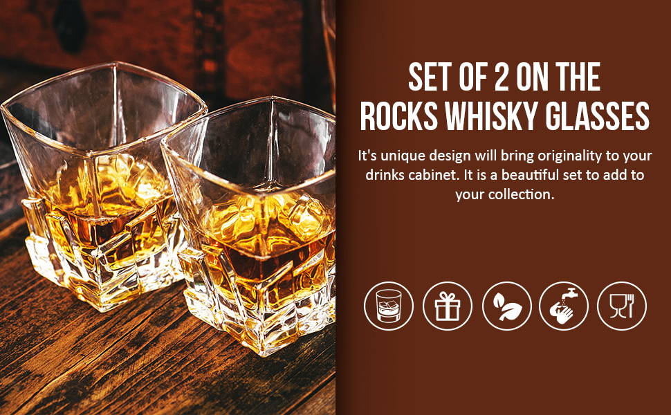 Set of 2 on the rock whisky glasses