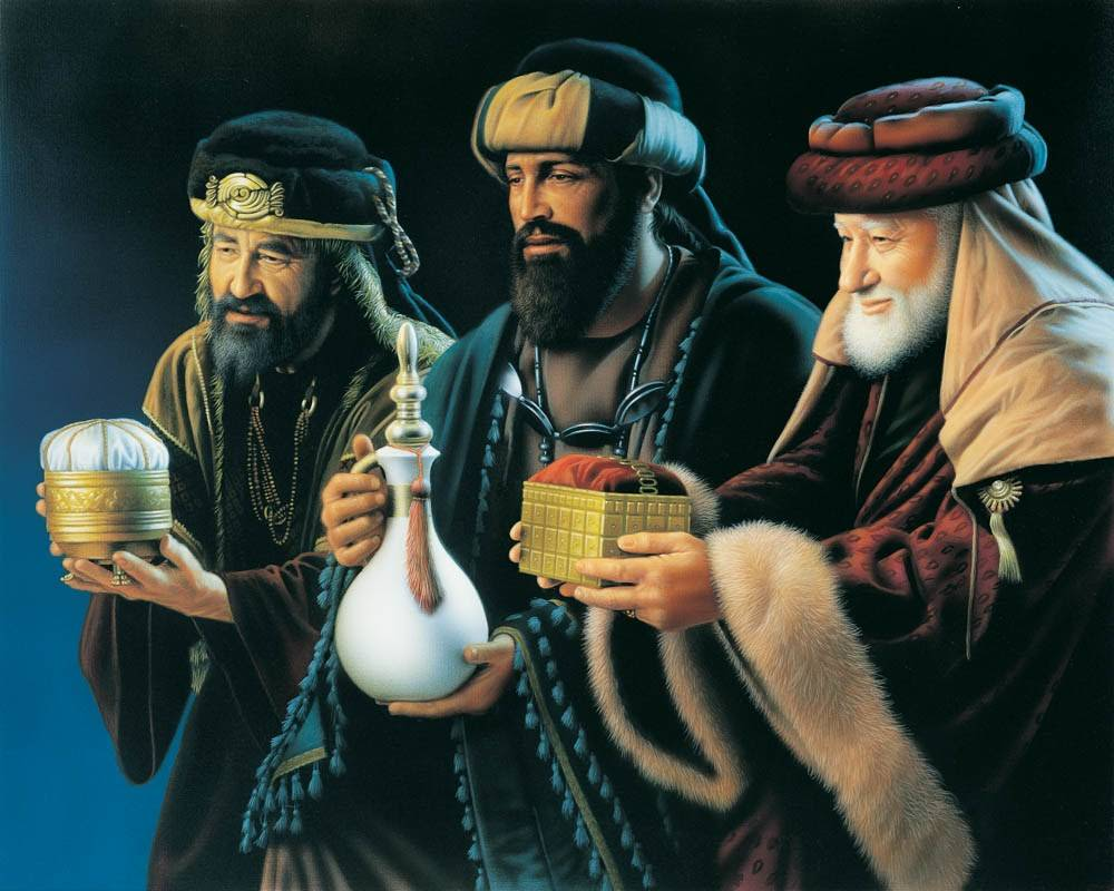 LDS art painting of the three wisemen presenting gifts.