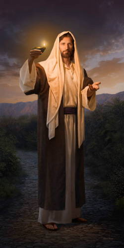 Vertical painting of Jesus holding up a glowing lamp and extending a hand toward the viewer, as if guiding down a path.