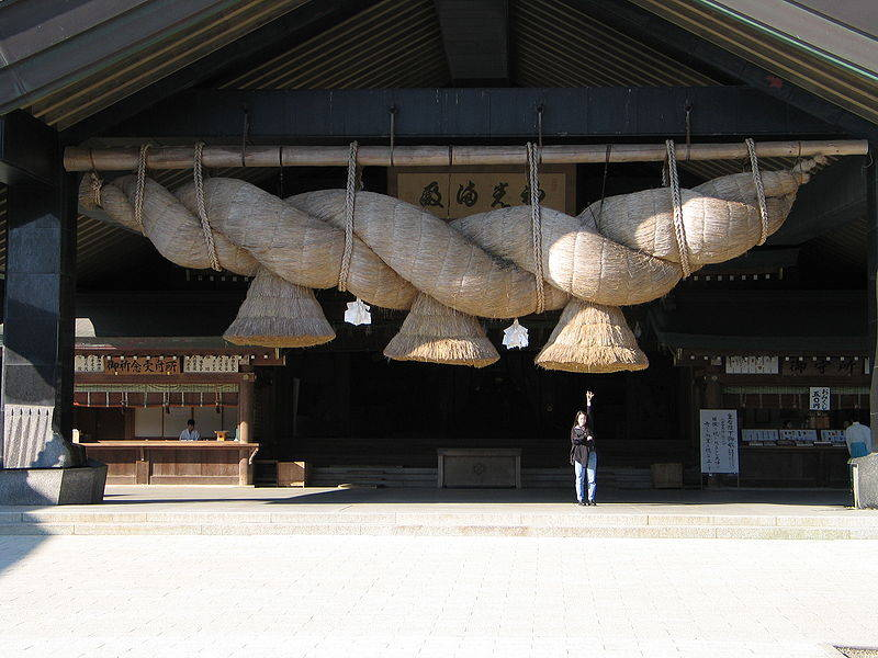 Shimenawa rope over temple entrance