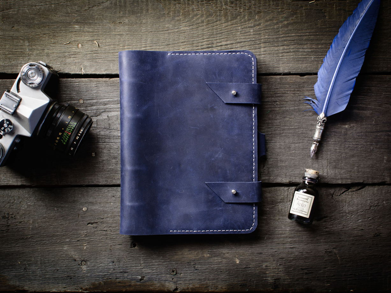 Кожаный блокнот-органайзер -FOLIO- формат А5 цвет Синий Океан